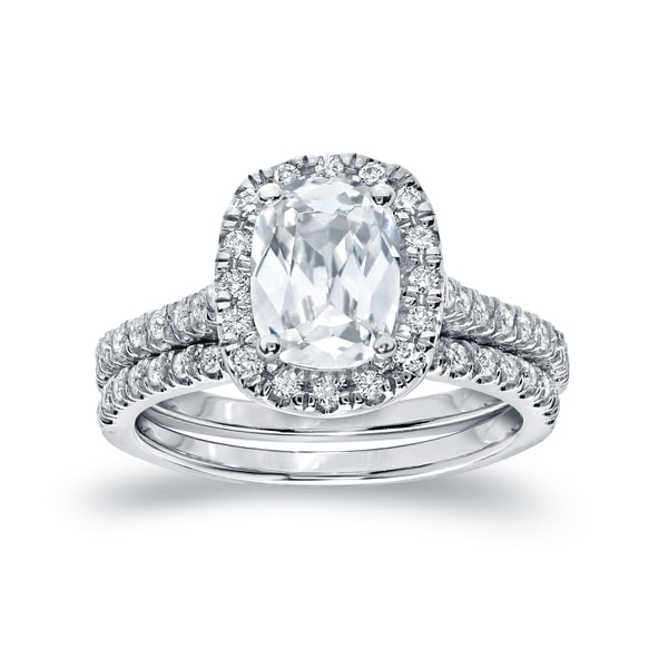 Auriya Platinum 2ctw Cushion-cut Halo Diamond Engagement Ring Set Certified. Opens flyout.