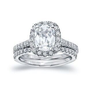 Auriya Platinum 2ct TDW Certified Cushion Cut Diamond Bridal Ring Set (H-I, SI1-SI2)