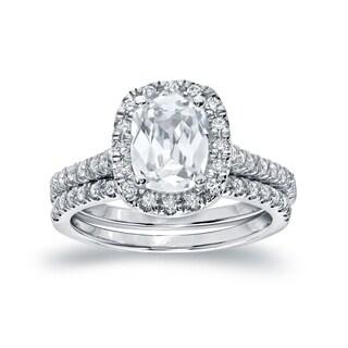 Auriya Platinum 2ct TDW Certified Cushion-Cut Halo Diamond Engagement Ring Set