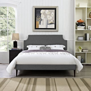 Laura Grey Fabric Platform Bed with Round Tapered Legs