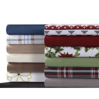 Cotton Flannel Extra Deep Pocket Sheet Set with Oversize Flat Sheet (Option: Floral)
