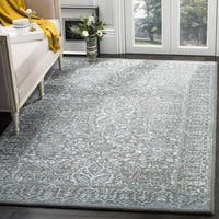Safavieh Handmade Glamour Contemporary Blue/ Dark Grey Viscose Rug - 6' x 6' Square