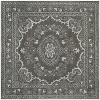 Safavieh Handmade Glamour Contemporary Bohemian Dark Grey Viscose Rug - 6' Square
