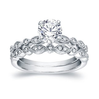 Auriya Platinum 4/5ctw Vintage Inspired Diamond Engagement Ring Set