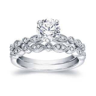 Auriya Platinum 4/5ct TDW Round Cut Diamond Bridal Ring Set (I-J, SI2-SI3)