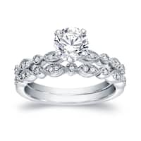 Auriya Platinum 4/5ct TDW Vintage-Inspired 4/5ct TDW Diamond Engagement Ring Set