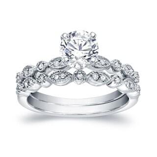 Auriya Platinum 4/5ct TDW Vintage-Inspired 4/5ct TDW Diamond Engagement Ring Set