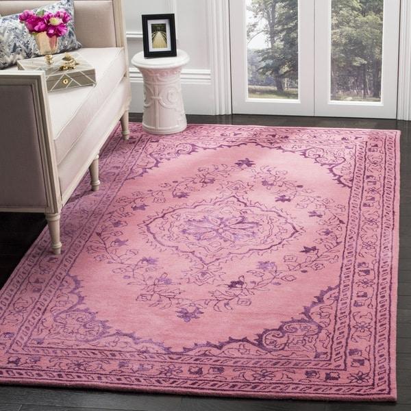 Safavieh Handmade Glamour Contemporary Bohemian Pink Viscose Rug - 6' Square