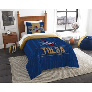 The Northwest Company COL 862 Tulsa Modern Take Blue and Gold Polyester Twin 2-piece Comforter Set
