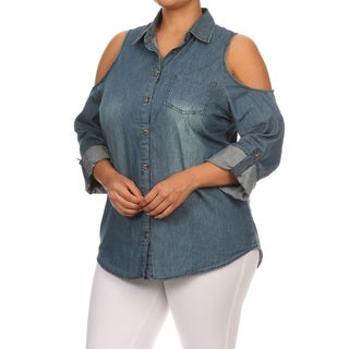 Women's Blue Cotton Denim Plus Size Shoulder Cutout Design Button-up Top