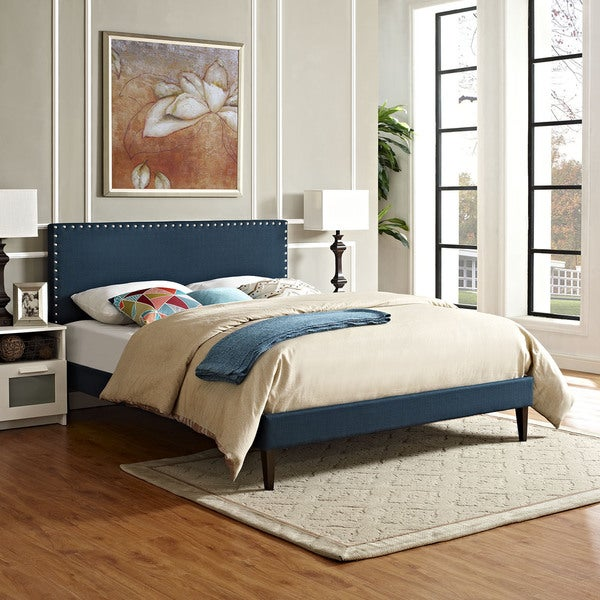 Phoebe Fabric Platform Bed with Squared Tapered Legs in Azure