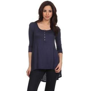 Women's Button-front Solid Blue or Black Rayon and Spandex Top