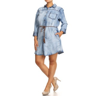 Women's Blue Denim Plus-size Shirt Dress