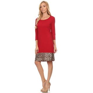 Women's Solid Sequin Pattern Red Polyester/Spandex Dress
