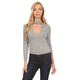 Women's Grey Cotton and Polyester Bodysuit Cutout Crewneck Top