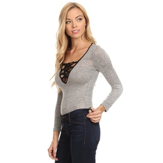 Women's Bodysuit-front Grey Cotton and Polyester Corset Top
