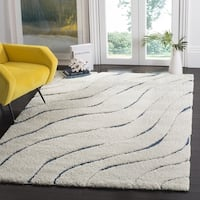 Safavieh Florida Ultimate Shag Contemporary Cream/ Blue Area Rug - 8' x 10'