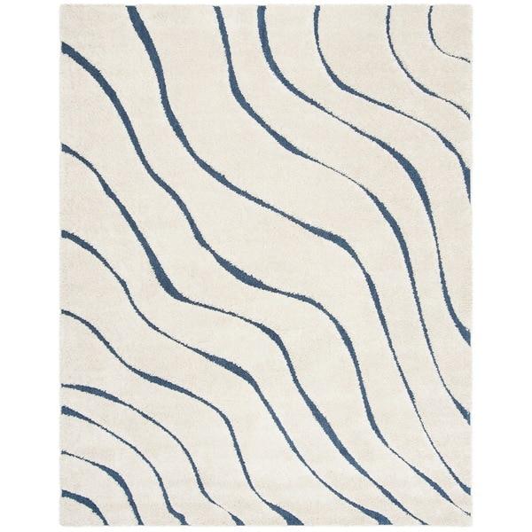Safavieh Florida Ultimate Shag Contemporary Cream/ Blue Area Rug (8' x 10')