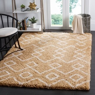 Safavieh Handmade Toronto Shag Moroccan Beige/ Ivory Polyester Rug (8' x 10')