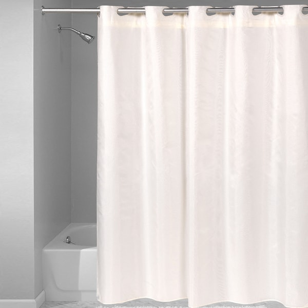 Hookless Fabric Solid Color Shower Curtain With Snap Off Liner