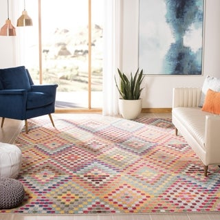 Safavieh Monaco Bohemian Polka Dot Multi/ Beige Distressed Rug (6' 7 Square)