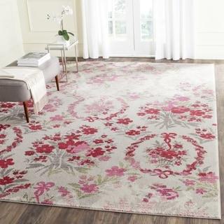 Safavieh Monaco Vintage Floral Bouquet Ivory / Pink Distressed Rug (6' 7 Square)