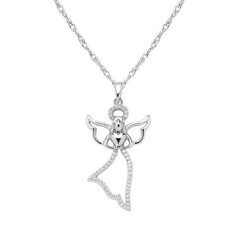 Cali Trove 10kt White Gold 1/10ct TDW White Diamond Flying Angel Pendant