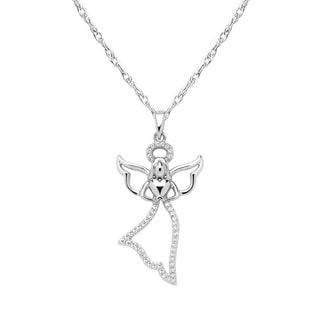 10k White Gold 1/10ct TDW White Diamond Flying Angel Pendant