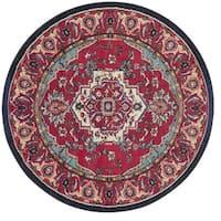 Safavieh Monaco Oriental Bohemian Red/ Turquoise Rug - 5' Round