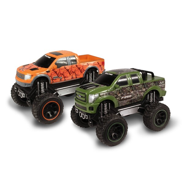 Nkok RealTree Push 'N Go Ford F-150 SVT Raptor & Ford F-250 Super Duty 1:24-scale Trucks