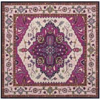 Safavieh Bellagio Handmade Bohemian Ivory/ Pink Wool Rug - 5' x 5' square