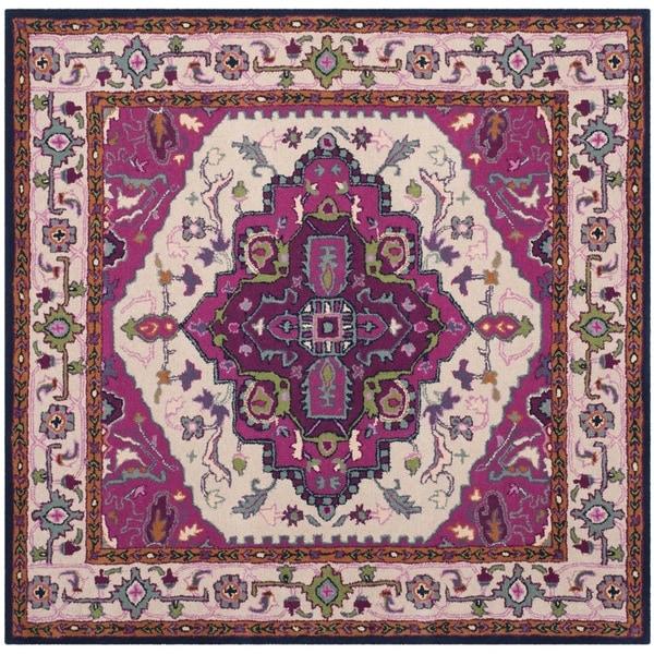 Safavieh Bellagio Handmade Bohemian Ivory/ Pink Wool Rug (5' Square)