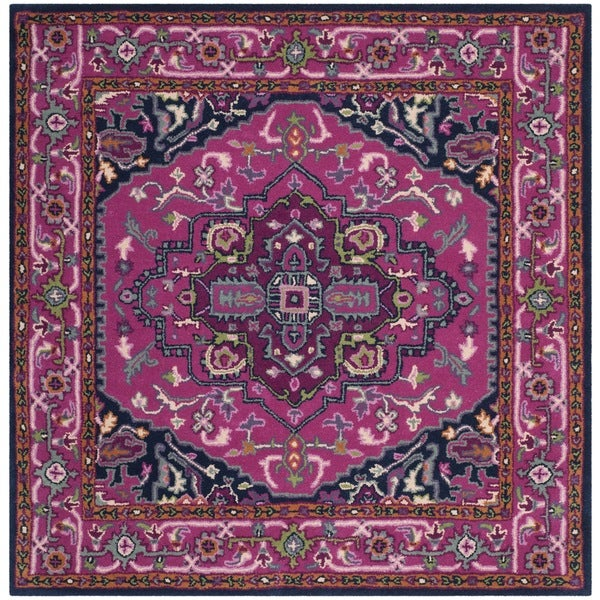 Shop Safavieh Bellagio Handmade Bohemian Pink/ Navy Wool