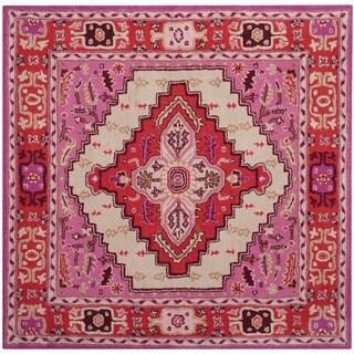Safavieh Bellagio Handmade Bohemian Red Pink/ Ivory Wool Rug (5' Square)