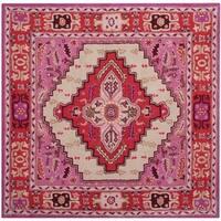 Safavieh Bellagio Handmade Bohemian Red Pink/ Ivory Wool Rug - 5' Square