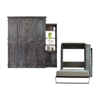Queen Simplicity Murphy Bed and Door Bookcase in Black Wash Finish