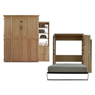 Queen Simplicity Murphy Bed and Door Bookcase in Blonde Finish