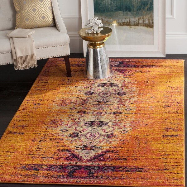 Safavieh Monaco Vintage Distressed Orange/ Multi Distressed Rug (5' Square)