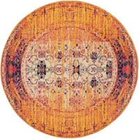 Safavieh Monaco Vintage Chic Distressed Orange/ Multi Rug - 5' Round