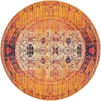Safavieh Monaco Vintage Distressed Orange/ Multi Distressed Rug (5' Round)