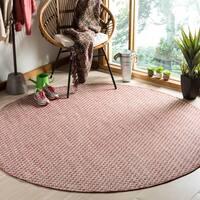 Safavieh Indoor/ Outdoor Courtyard Rust/ Light Grey Rug - 7' Round