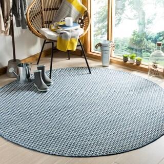 Safavieh Indoor/ Outdoor Courtyard Blue/ Light Grey Rug (7' Round)
