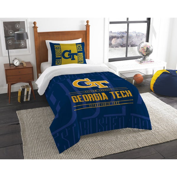 The Northwest Co COL Georgia Tech Modern Take Blue and Yellow Twin 2-piece Comforter Set