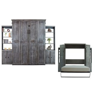 Queen Simplicity Murphy Bed and Two Door Bookcases in Charcoal Wash Finish