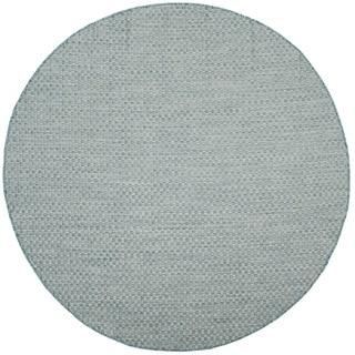 Safavieh Indoor/ Outdoor Courtyard Light Blue/ Light Grey Rug (7' Round)