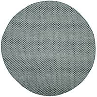 Safavieh Indoor/ Outdoor Courtyard Turquoise/ Light Grey Rug - 7' Round