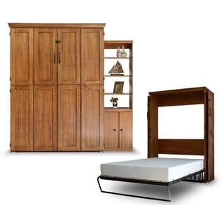 Queen Simplicity Murphy Bed and Door Bookcase in Chestnut Finish