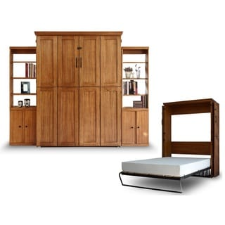 Queen Simplicity Murphy Bed and Two Door Bookcases in Chestnut Finish