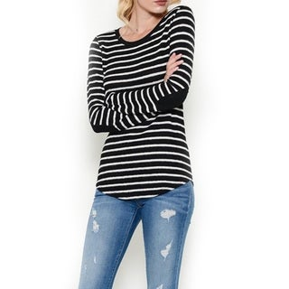 Women's Hacci Stripe Black and White Cotton Long-sleeve Top