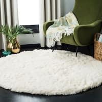 """Safavieh Polar Shag White Fluffy Silken Rug - 6'7"""" x 6'7"""" Round"""